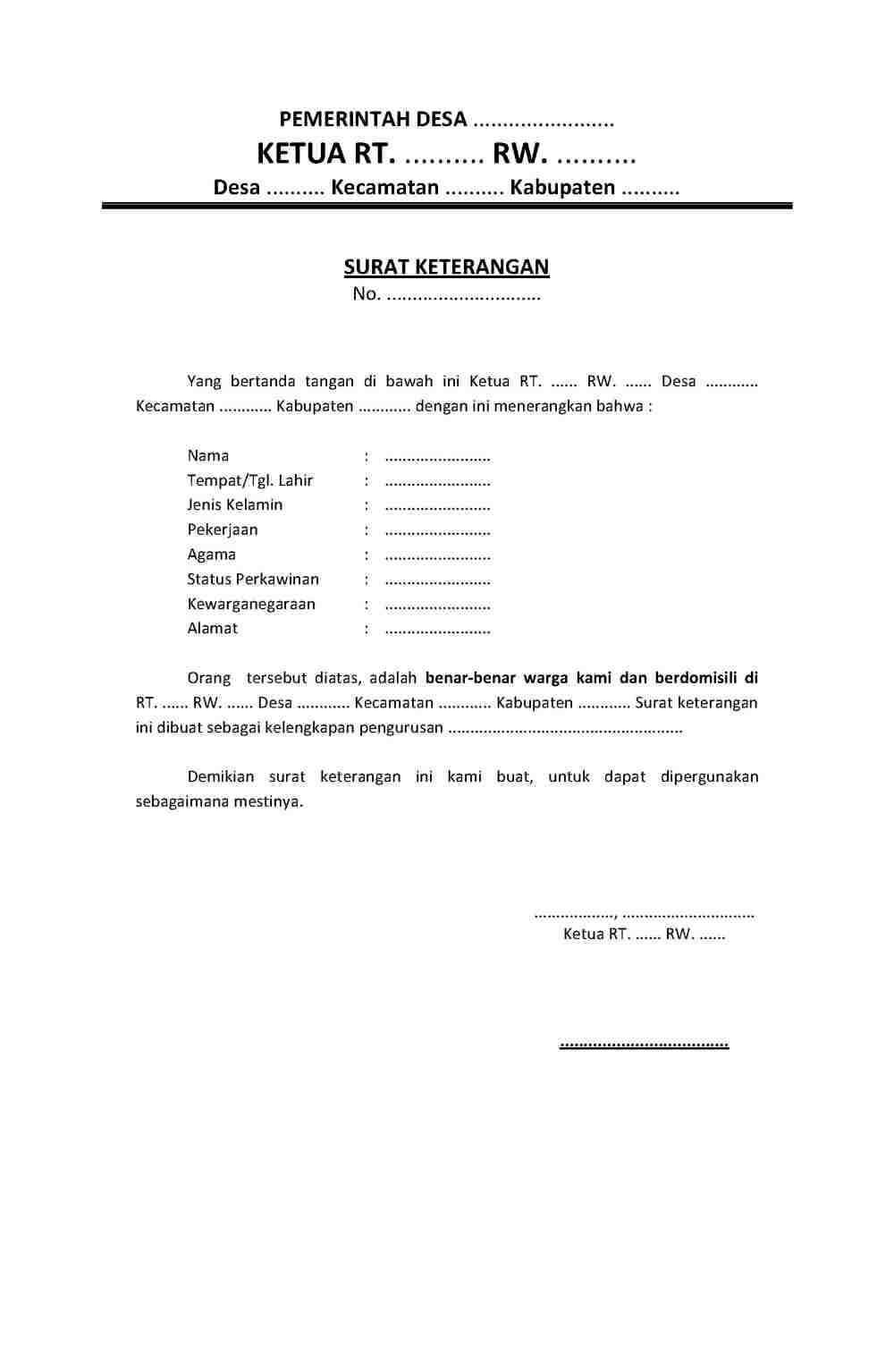 10. Contoh Surat Keterangan Resmi Dari Kelurahan