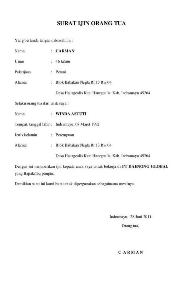 11. Contoh Surat Izin Orang Tua Untuk Bekerja Di Indomaret