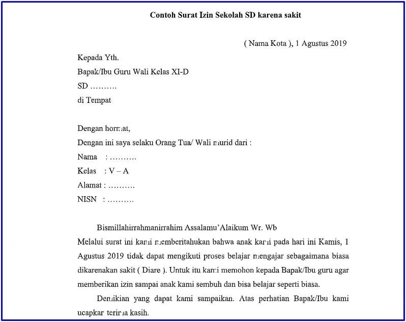 11. Contoh Surat Izin Sekolah SD
