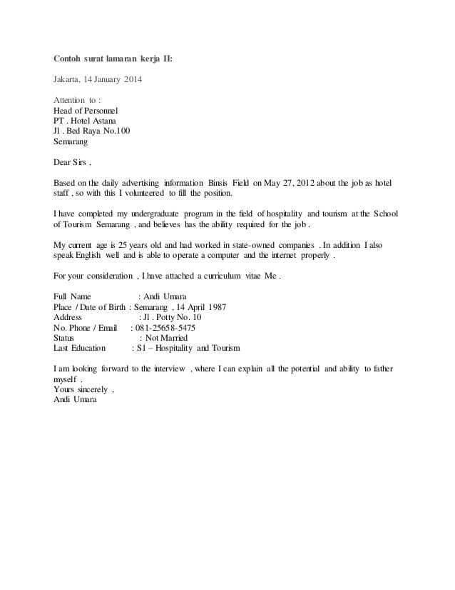 14. Contoh Surat Pengalaman Kerja Hotel