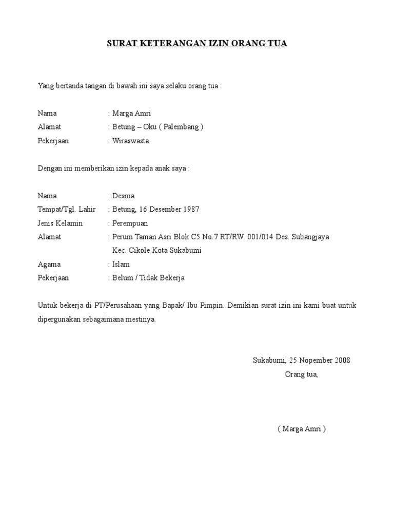2. Contoh Surat Keterangan Izin Orang Tua Untuk Kerja