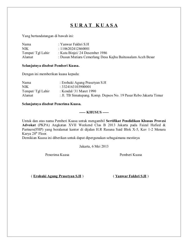 35+ Contoh Surat Kuasa Pengambilan BPKB, Uang, Ijazah ...