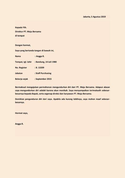 Contoh Surat Pengunduran Diri Restoran - Dokumen Hanna