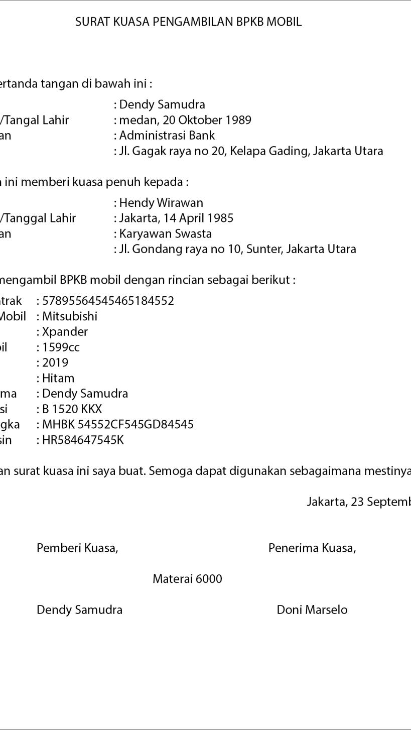 2. Contoh Surat Kuasa Pengambilan BPKB Mobil