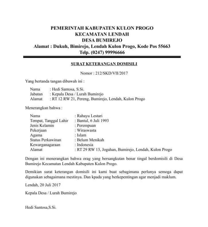 5. Contoh Surat Keterangan Domisili Lembaga