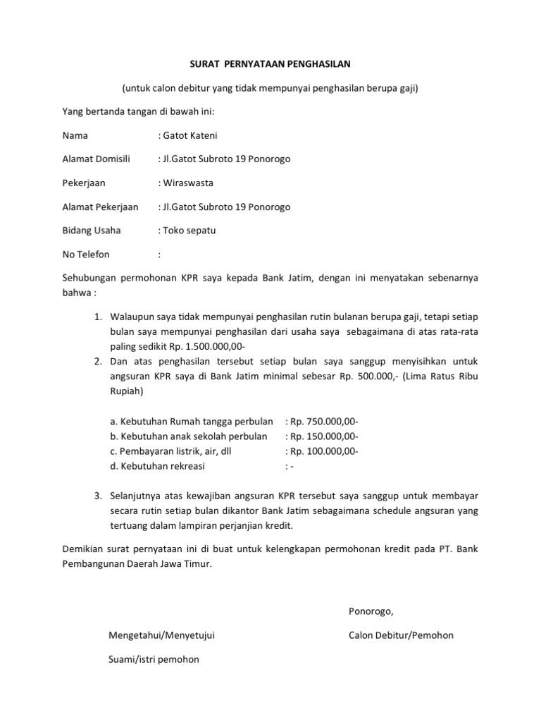 5. Contoh Surat Keterangan Penghasilan Untuk Kredit