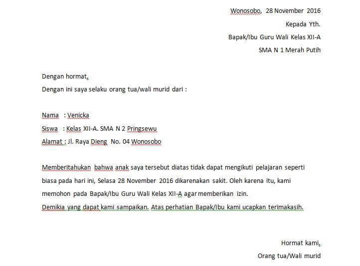6. Contoh Surat Tidak Masuk Sekolah Dalam Bahasa Inggris