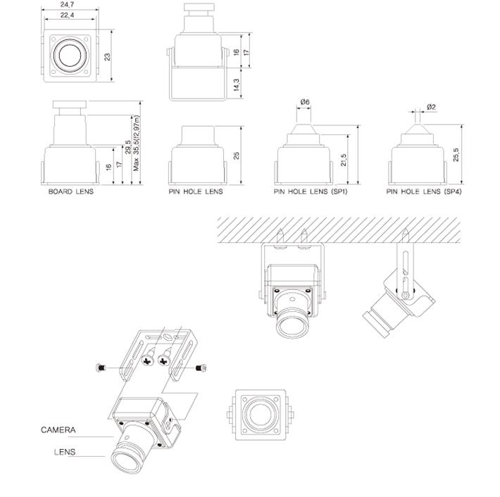 KPC-S20P3 Covert Board Camera Flat Pinhole Lens 3.7mm 1/3