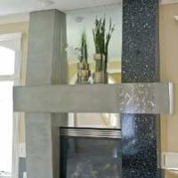 Custom Terrazzo Fireplace Surround Reflects New Concrete