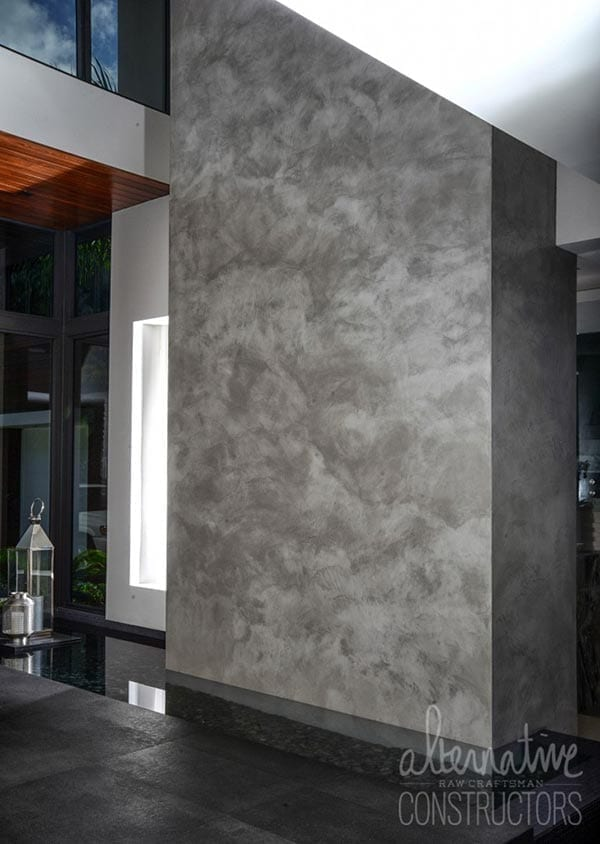 Vertical Burnished Concrete Wall Overlay