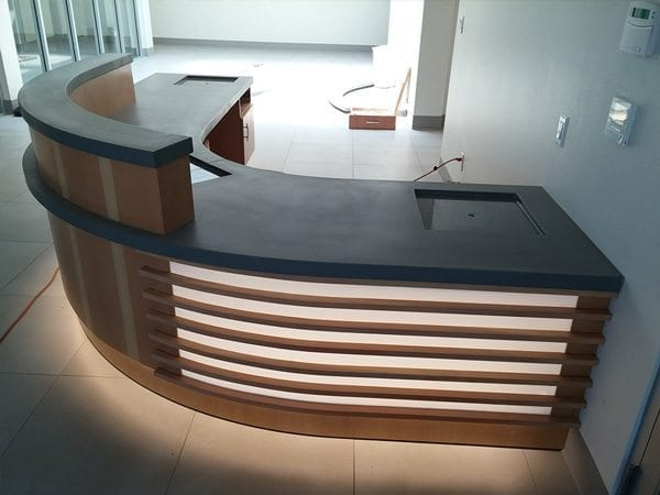 Curved Gray Concrete Reception
