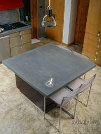 Concrete Gray Kitchen Island Sea Shell Emblem