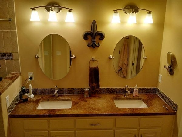 Antique Brown Stained Concrete Vanity Double Sink Counter Top