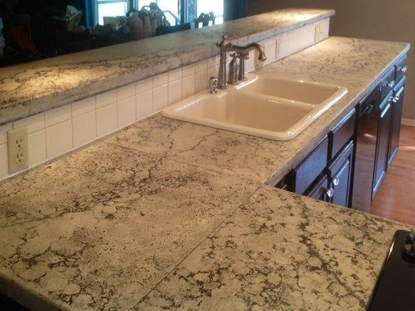 kitchen concrete bar top with dark veins