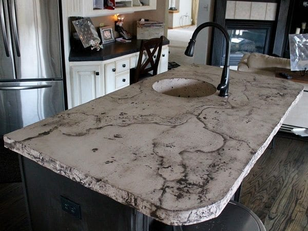 kitchen island top natural cleaner cream oreo colored veined concrete