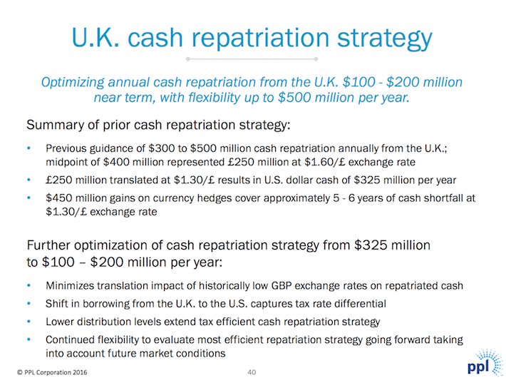 PPL UK Cash Repatriation Strategy