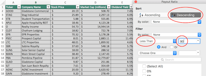 How to Filter the Monthly Dividend Stocks Spreadsheet