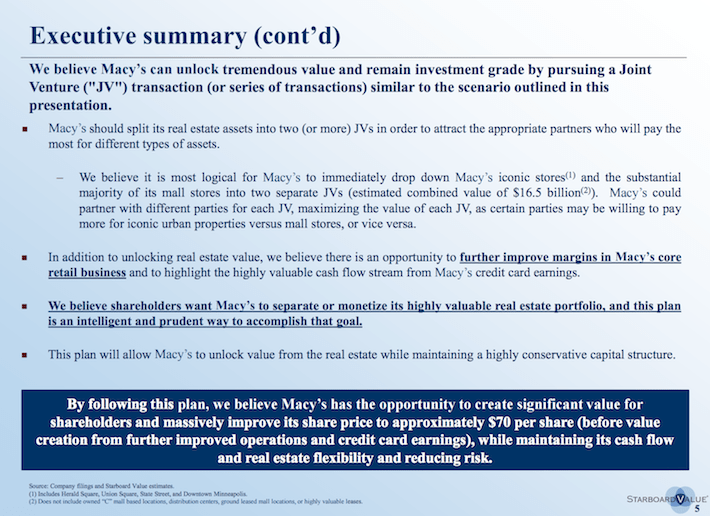 M Starboard Value Executive Summary Continued