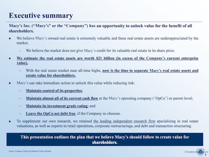 M Starboard Value Executive Summary