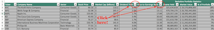 Warren Buffett's Top Stocks Excel Screenshot 1