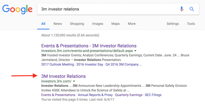 3M Investor Relations Google Search