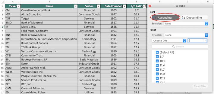 Blue Chip Stocks Excel Tutorial 4
