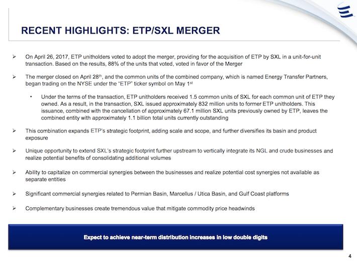ETP Energy Transfer Partners Recent Highlights - ETP:SXL Merger