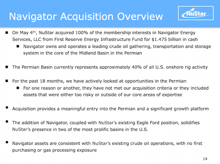 NSH NuStar Holdings Navigator Acquisition Overview