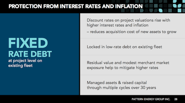 PEGI Pattern Energy Group Protection From Interest Rates and Inflation