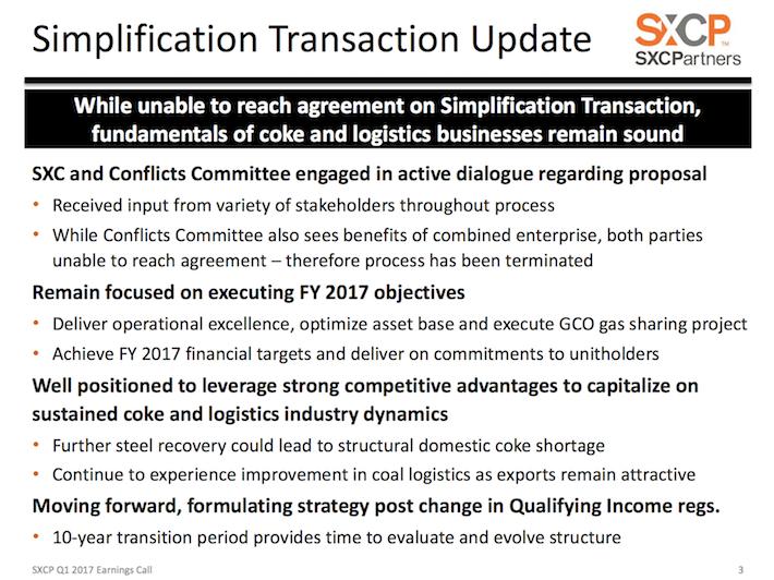 SXCP SunCoke Energy Partners Simplification Transaction Update