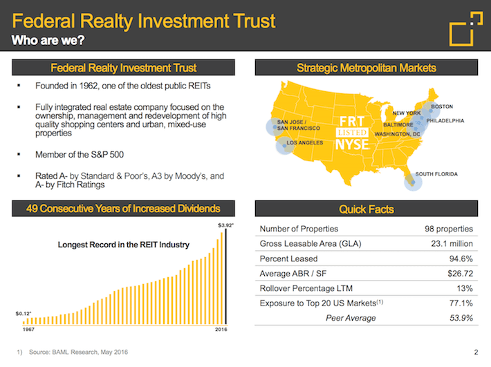 FRT Federal Realty Investment Trust Who Are We?