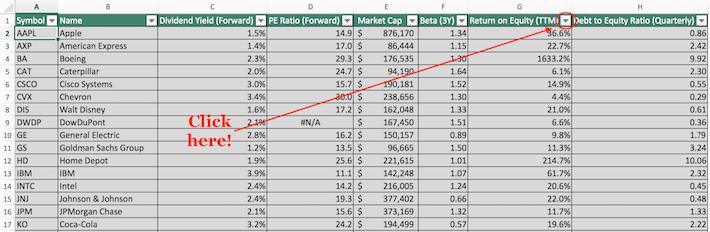 Dow Jones Excel Tutorial 1