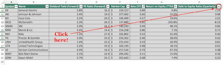Dow Jones Excel Tutorial 7