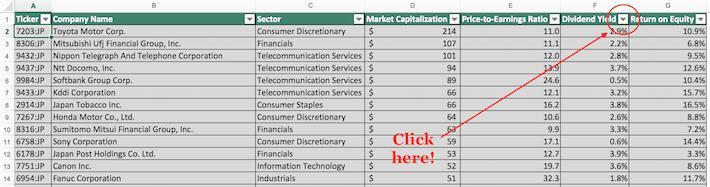 Nikkei 225 Stocks Excel Tutorial 1