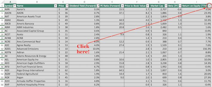 Russell 2000 Stocks Excel Tutorial 7