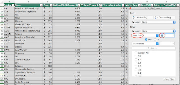 S&P 500 Stocks Excel Tutorial 2