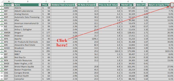 S&P 500 Stocks Excel Tutorial 9