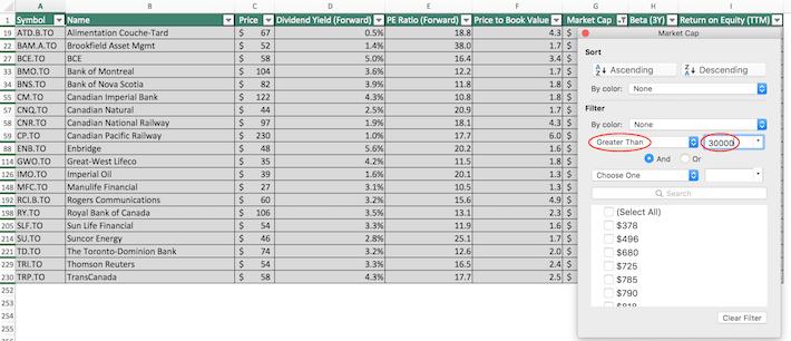 S&P TSX Composite Stocks Excel Tutorial 6