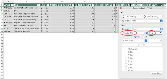 TSX 60 Stocks Excel Tutorial 8