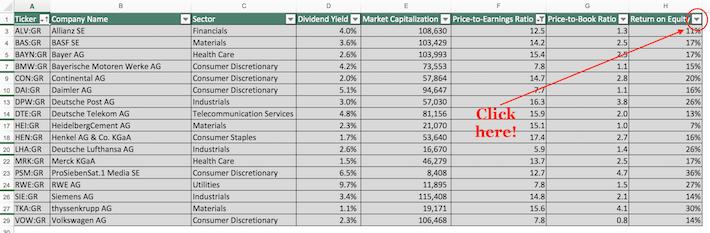 Dax Index Stocks Excel Tutorial 3