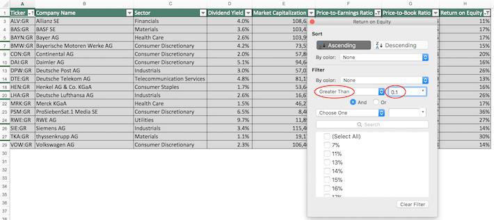 Dax Index Stocks Excel Tutorial 4