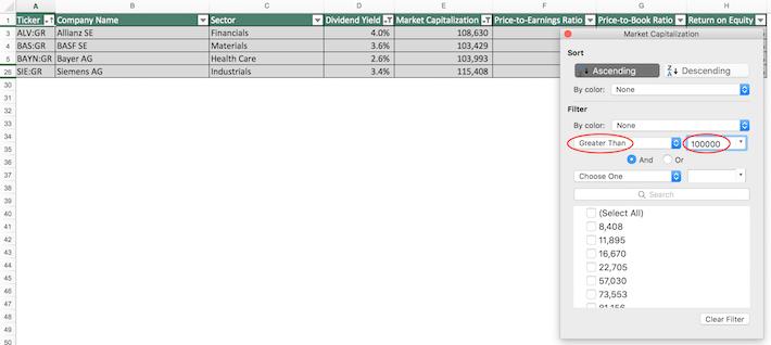 Dax Index Stocks Excel Tutorial 8