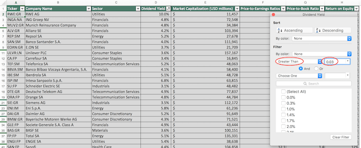 Euro Stoxx 50 Excel Tutorial 2