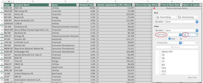 Euro Stoxx 50 Excel Tutorial 6