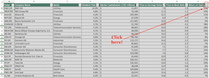 Euro Stoxx 50 Excel Tutorial 7