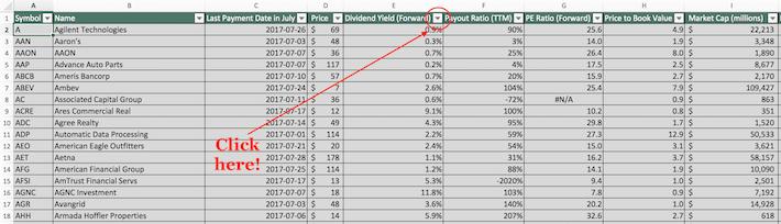 July Dividend Stocks Excel Tutorial 1