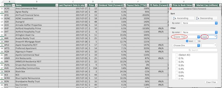 July Dividend Stocks Excel Tutorial 2