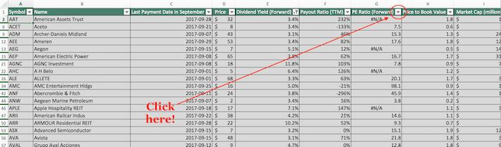 September Dividend Stocks Excel Tutorial 7