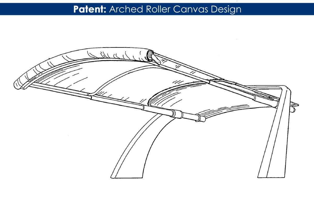 patent arched roll boat shade design