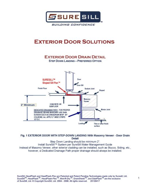 small resolution of exterior door drain detail suresill protect your investments bath drain diagram exterior door drain detail